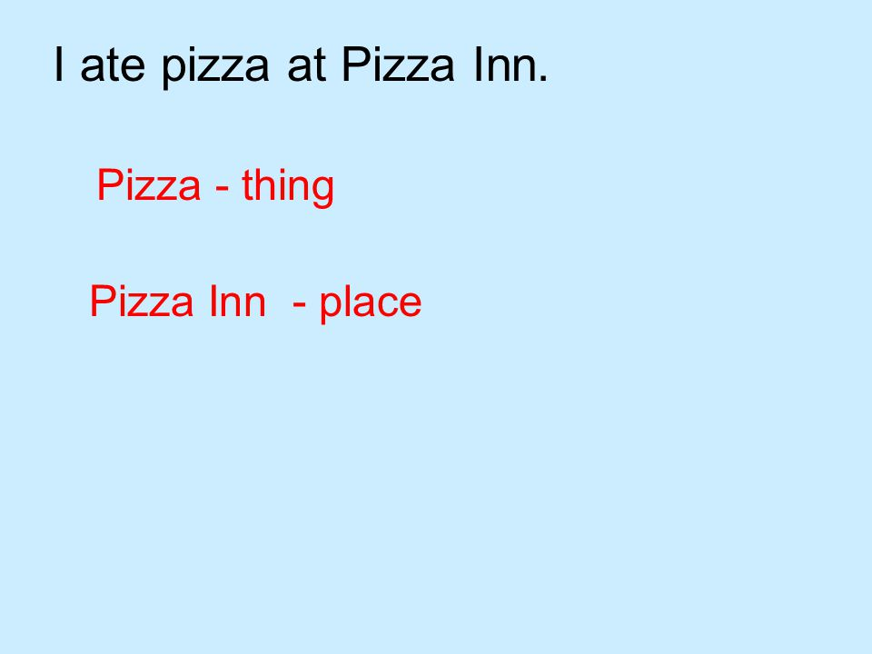 I ate pizza at Pizza Inn. Pizza - thing Pizza Inn - place