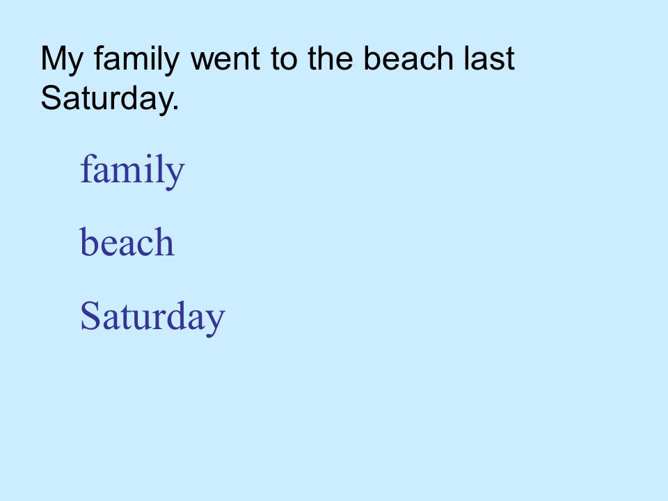My family went to the beach last Saturday. family beach Saturday