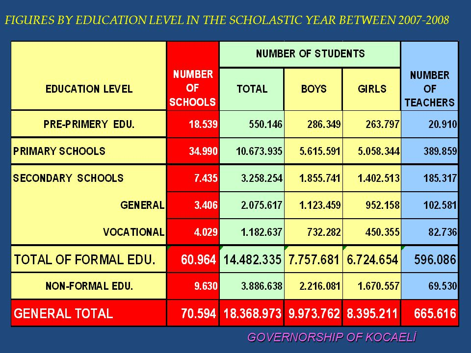FIGURES BY EDUCATION LEVEL IN THE SCHOLASTIC YEAR BETWEEN 2007-2008
