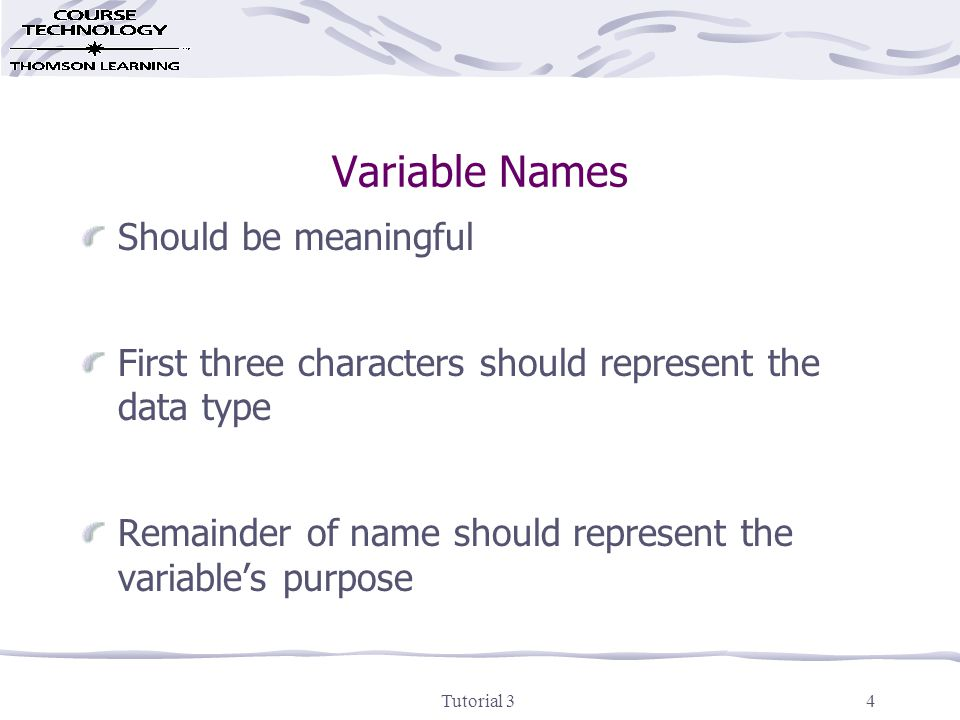Tutorial 34 Variable Names Should be meaningful First three characters should represent the data type Remainder of name should represent the variable's purpose