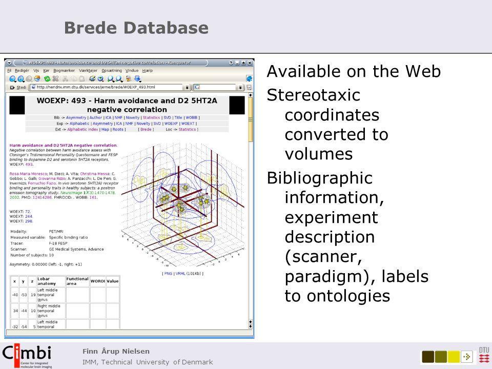 Finn Årup Nielsen IMM, Technical University of Denmark Brede Brain region ontology Brain region ontology Example: Posterior cingulate part of cingulate Links: MeSH, BrainInfo, …