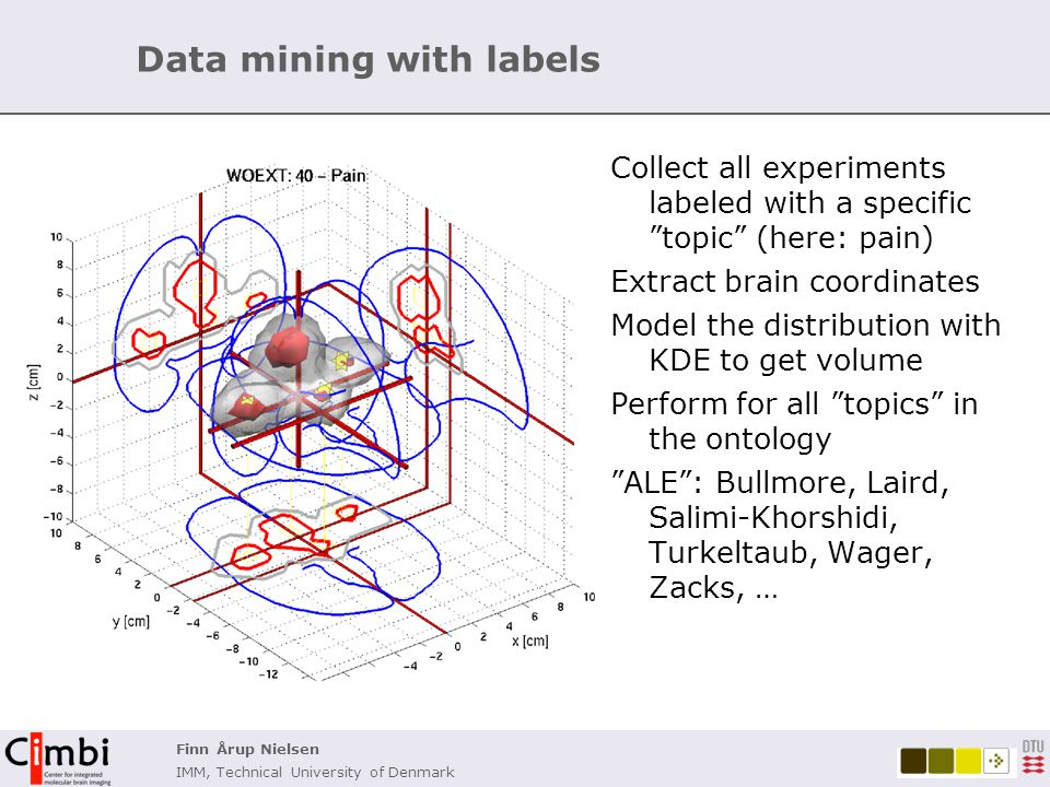 Finn Årup Nielsen IMM, Technical University of Denmark Combining coordinates & experiment labels Automated functional labeling of voxels: Conversion of coordinates and ontology labels to matrices and perform NMF