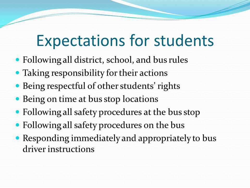 Some Inappropriate Student Behaviors Excessive noise Portions of bodies out windows Moving about while the bus is in motion Throwing objects around inside the bus Throwing objects outside the bus Crowding and shoving Pushing, tripping, kicking