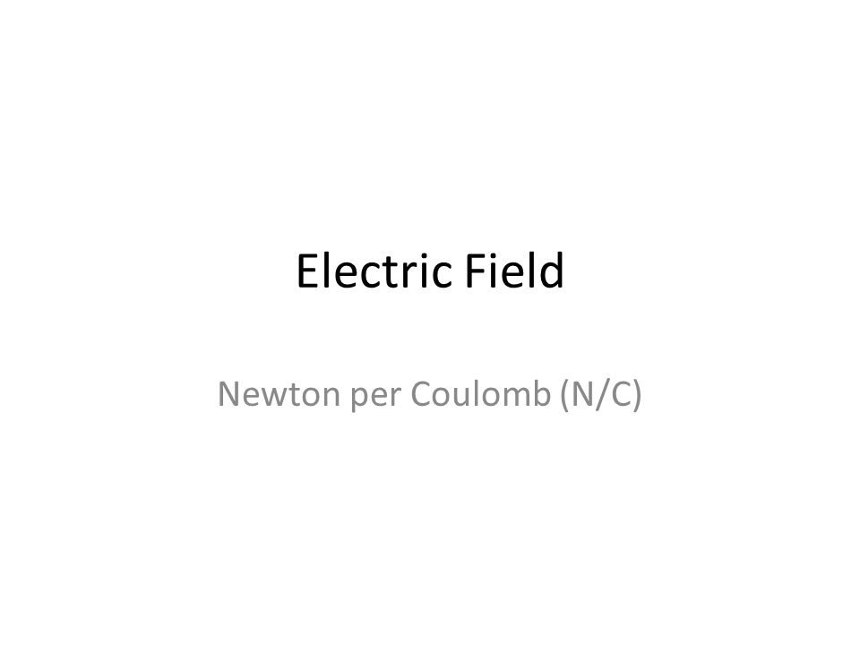 Electric Field Newton per Coulomb (N/C)