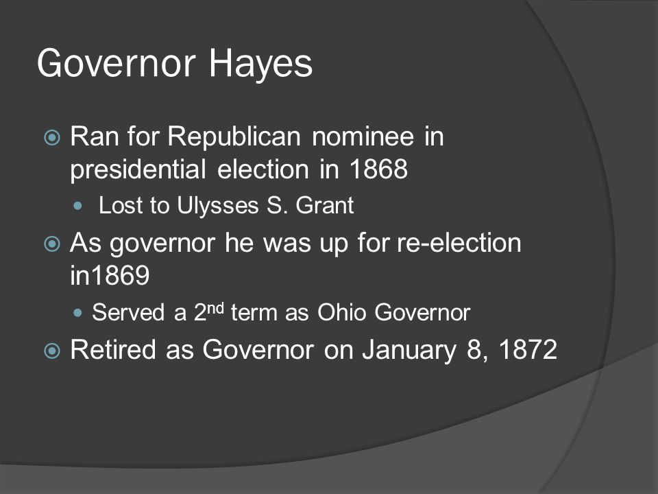 Governor Hayes  Ran for Republican nominee in presidential election in 1868 Lost to Ulysses S.