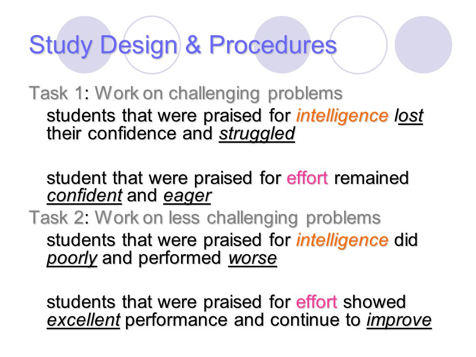 Study Design & Procedures Task 1: Work on challenging problems students that were praised for intelligence lost their confidence and struggled student