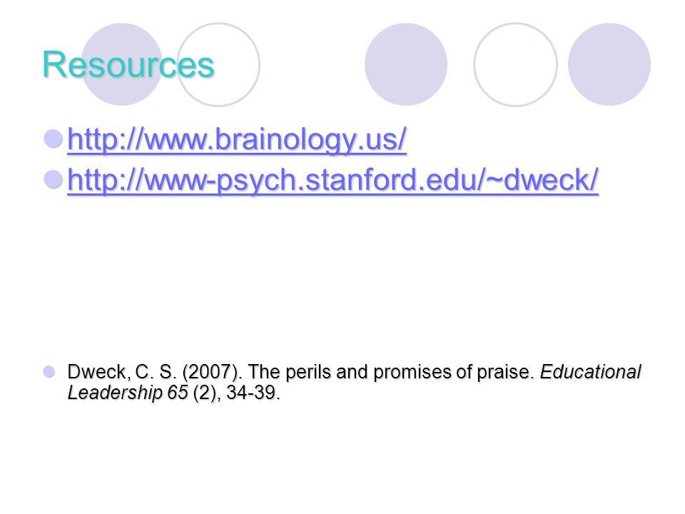 Resources http://www.brainology.us/ http://www.brainology.us/ http://www.brainology.us/ http://www-psych.stanford.edu/~dweck/ http://www-psych.stanfor