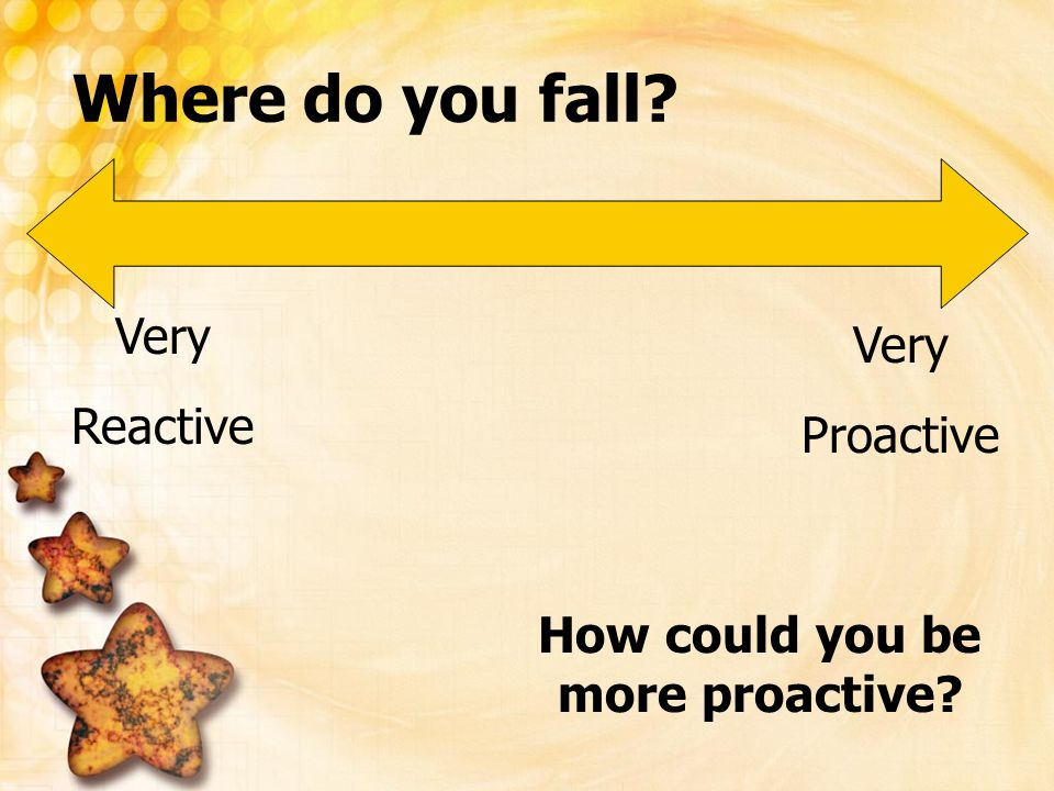 Where do you fall? Very Reactive Very Proactive How could you be more proactive?