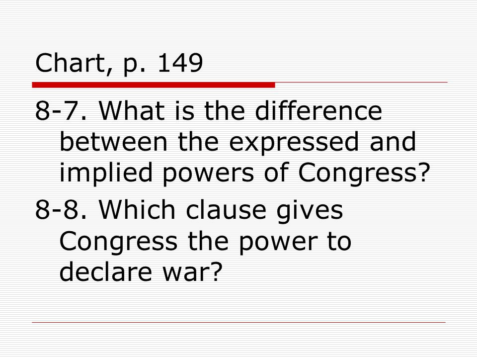 Chart, p What is the difference between the expressed and implied powers of Congress.