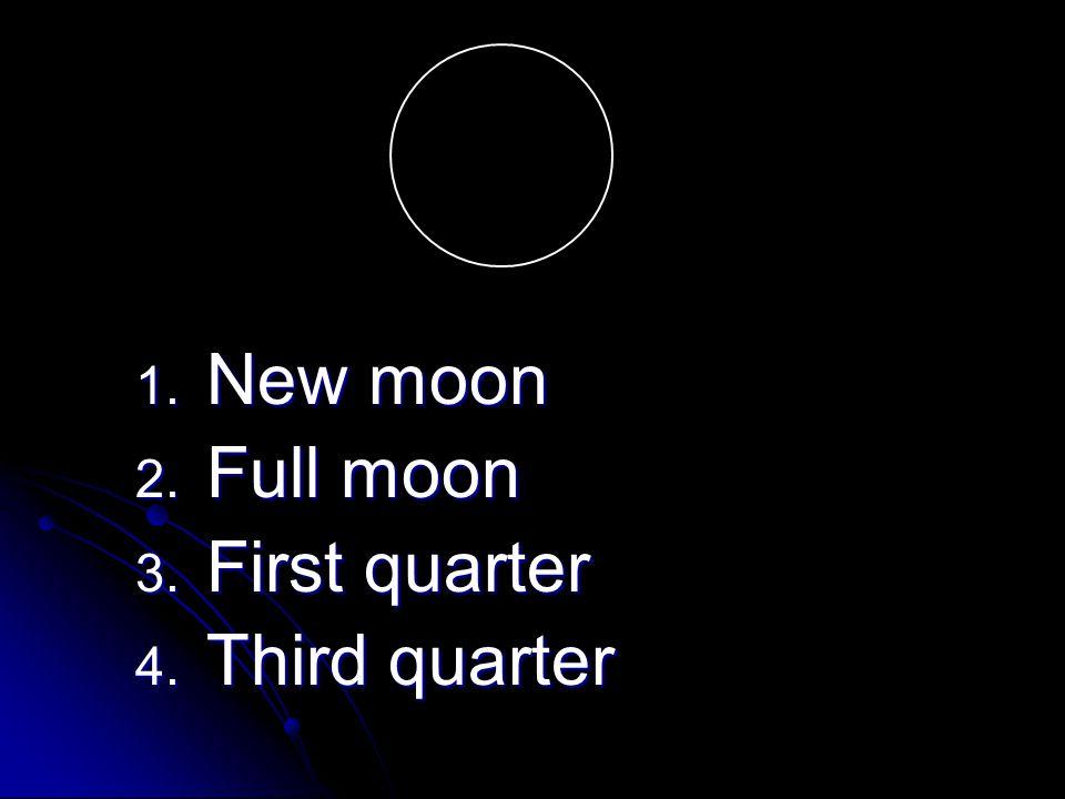 1. New moon 2. Full moon 3. First quarter 4. Third quarter