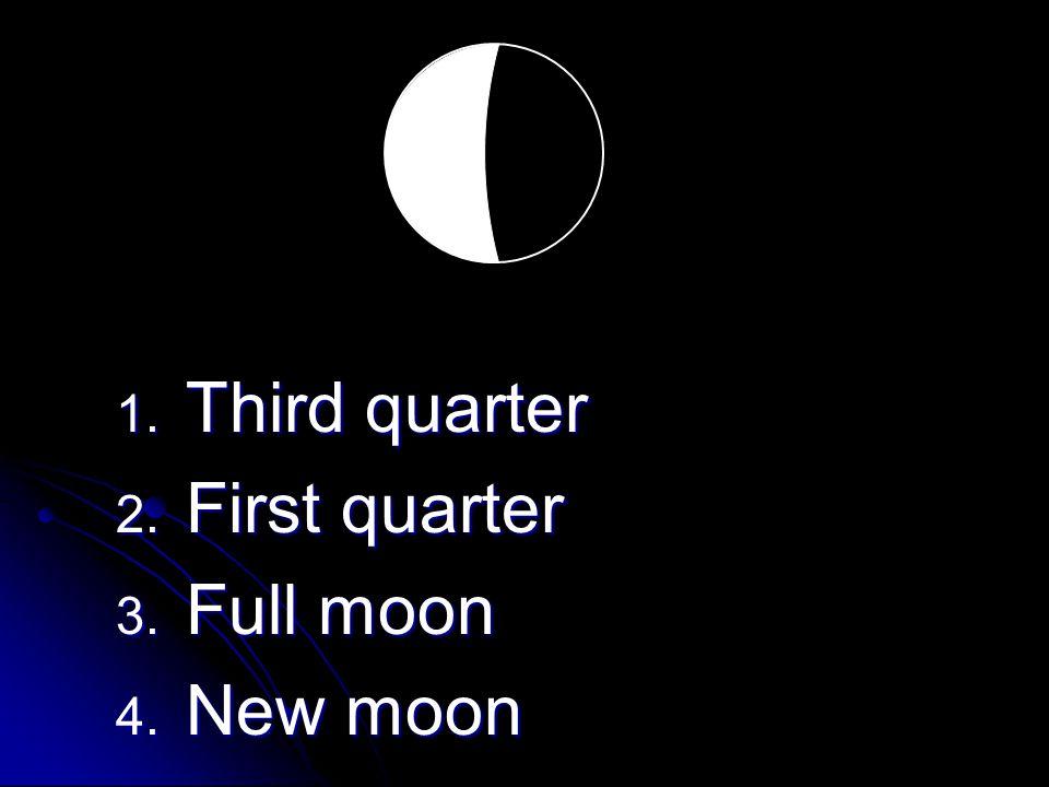 1. Third quarter 2. First quarter 3. Full moon 4. New moon