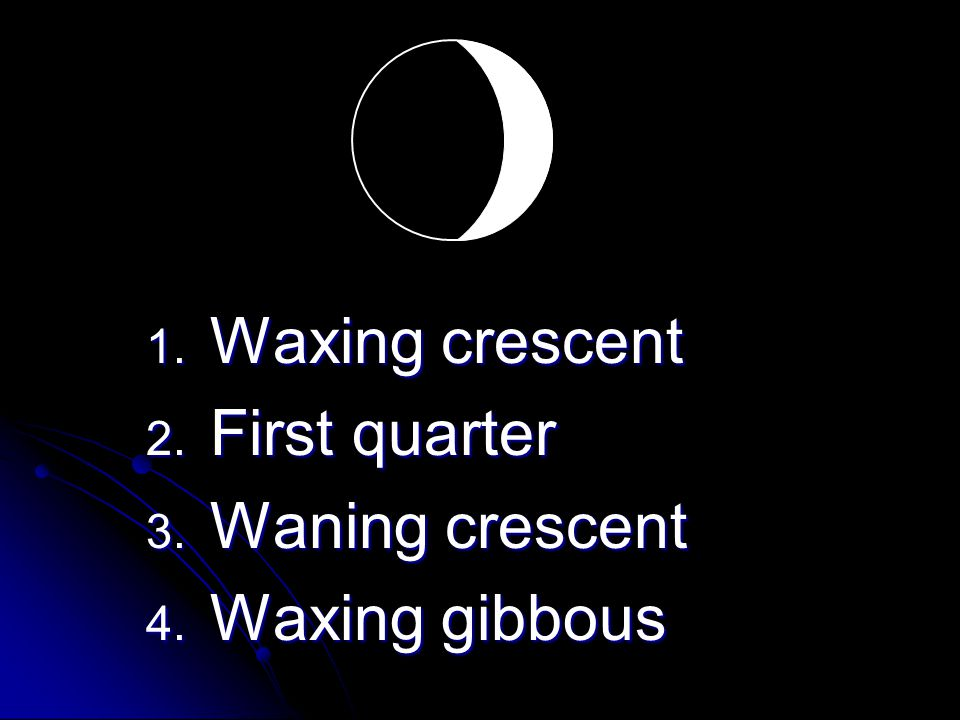 1. Waxing crescent 2. First quarter 3. Waning crescent 4. Waxing gibbous