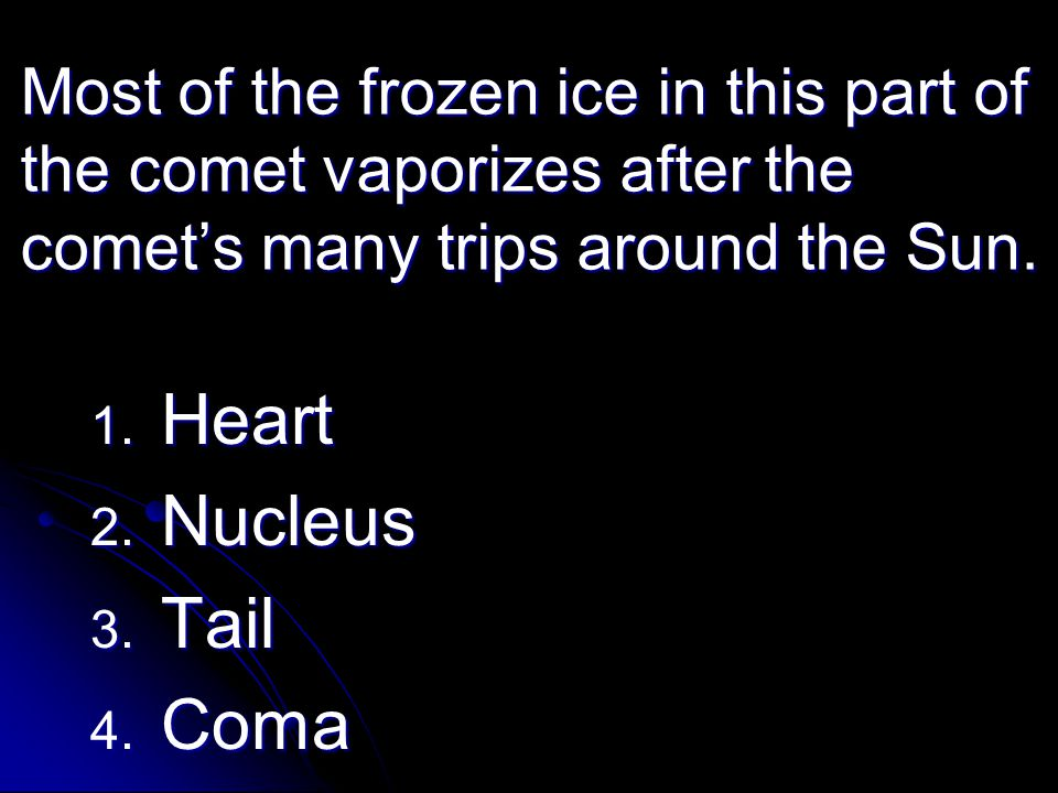 Most of the frozen ice in this part of the comet vaporizes after the comet's many trips around the Sun. 1. Heart 2. Nucleus 3. Tail 4. Coma