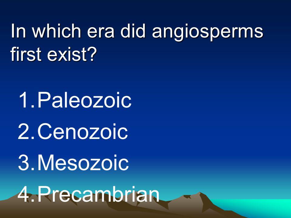In which era did angiosperms first exist? 1.Paleozoic 2.Cenozoic 3.Mesozoic 4.Precambrian