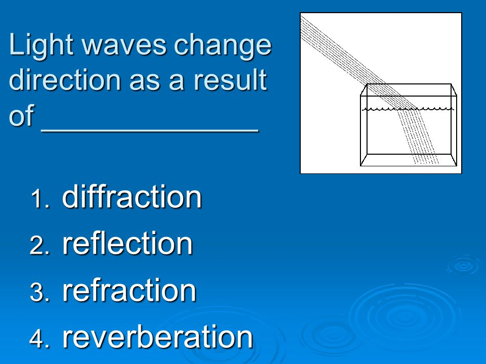 Light waves change direction as a result of _____________ 1. diffraction 2. reflection 3. refraction 4. reverberation