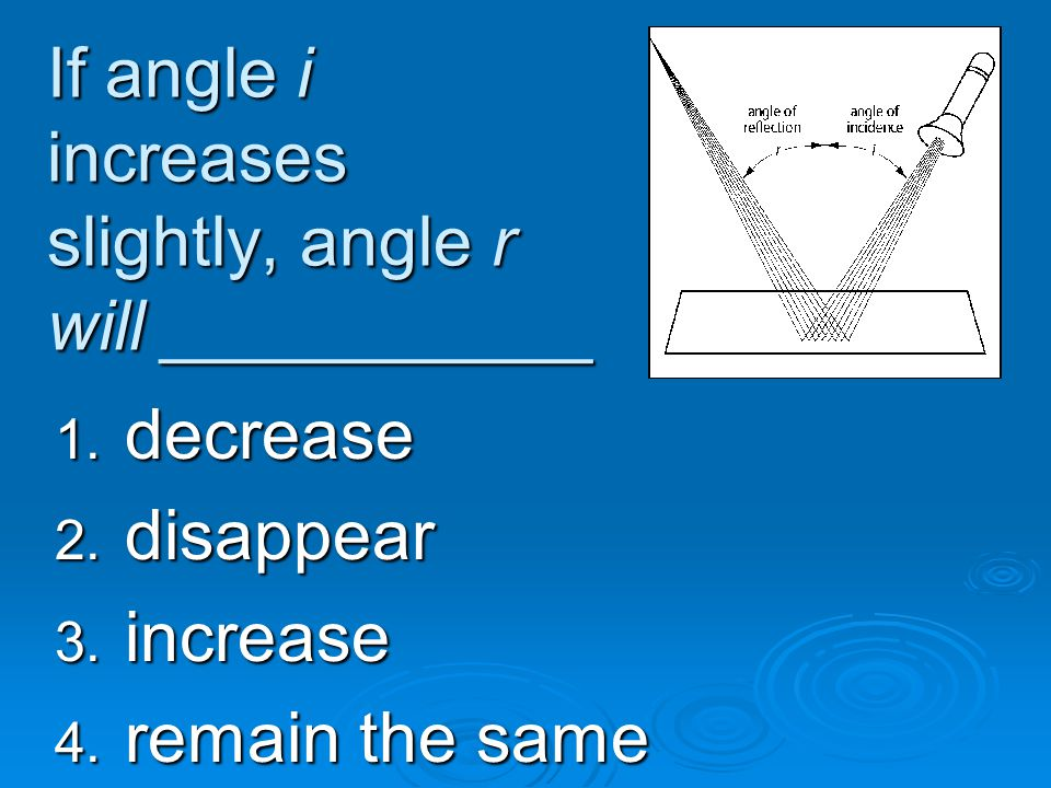 If angle i increases slightly, angle r will ___________ 1. decrease 2. disappear 3. increase 4. remain the same