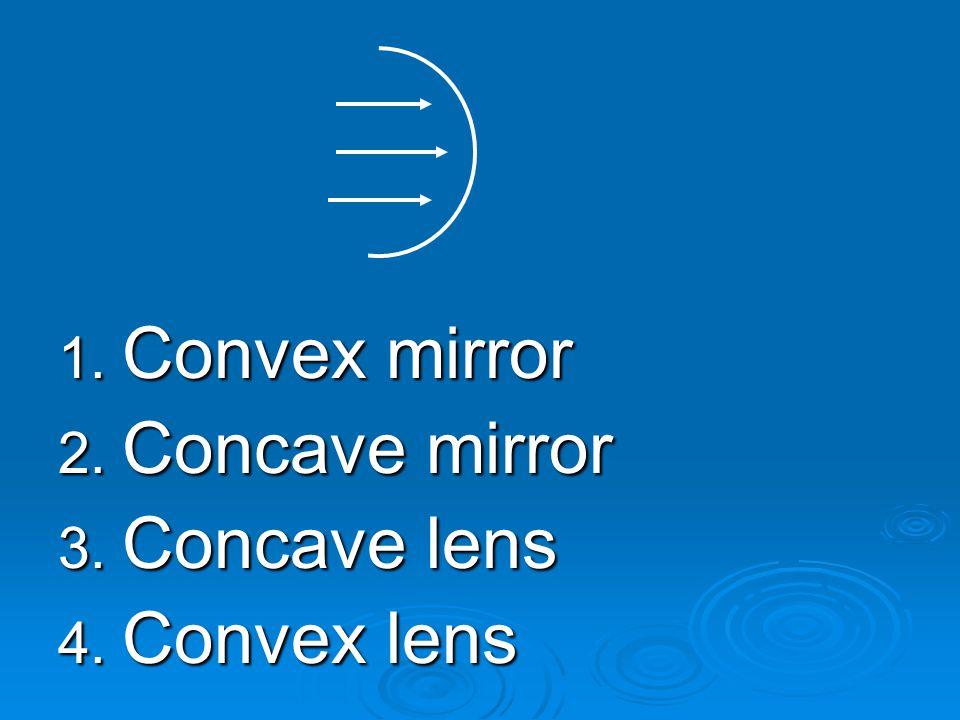 1. Convex mirror 2. Concave mirror 3. Concave lens 4. Convex lens