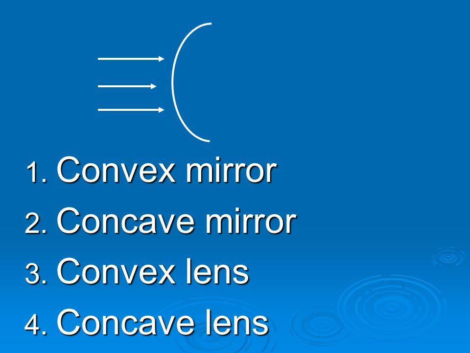 1. Convex mirror 2. Concave mirror 3. Convex lens 4. Concave lens