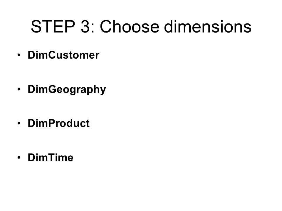 STEP 3: Choose dimensions DimCustomer DimGeography DimProduct DimTime