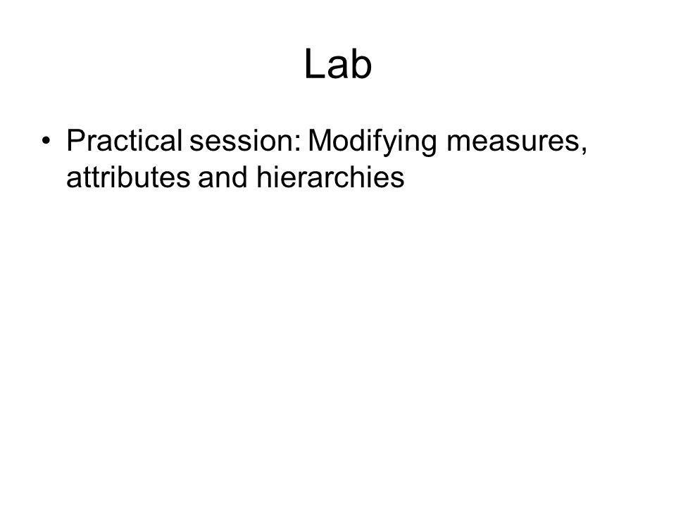 Lab Practical session: Modifying measures, attributes and hierarchies