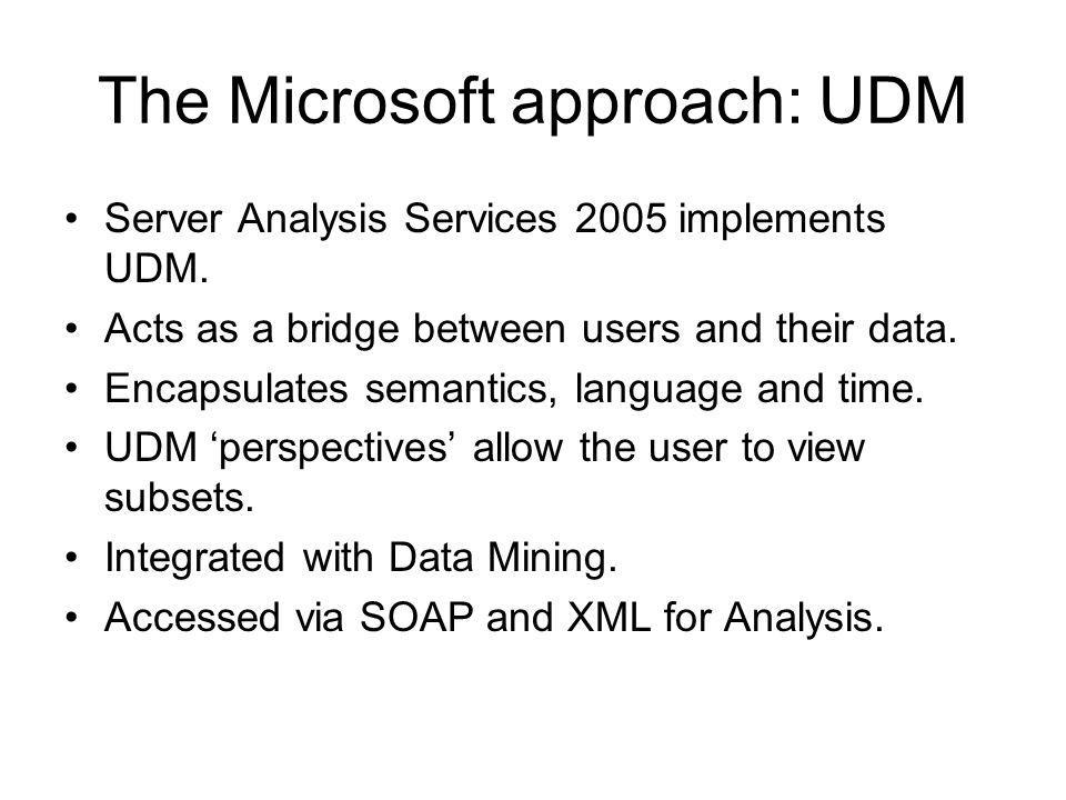 The Microsoft approach: UDM Server Analysis Services 2005 implements UDM.
