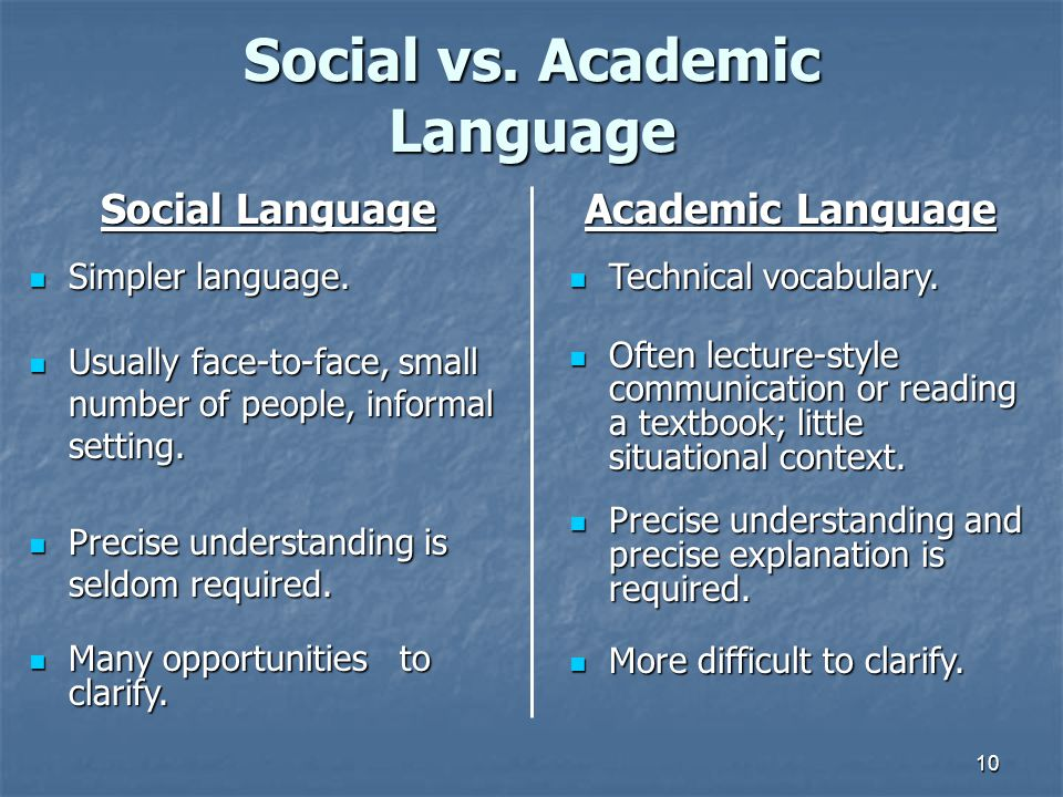 10 Social vs. Academic Language Social Language Academic Language Social Language Academic Language Simpler language. Simpler language. Usually face-t