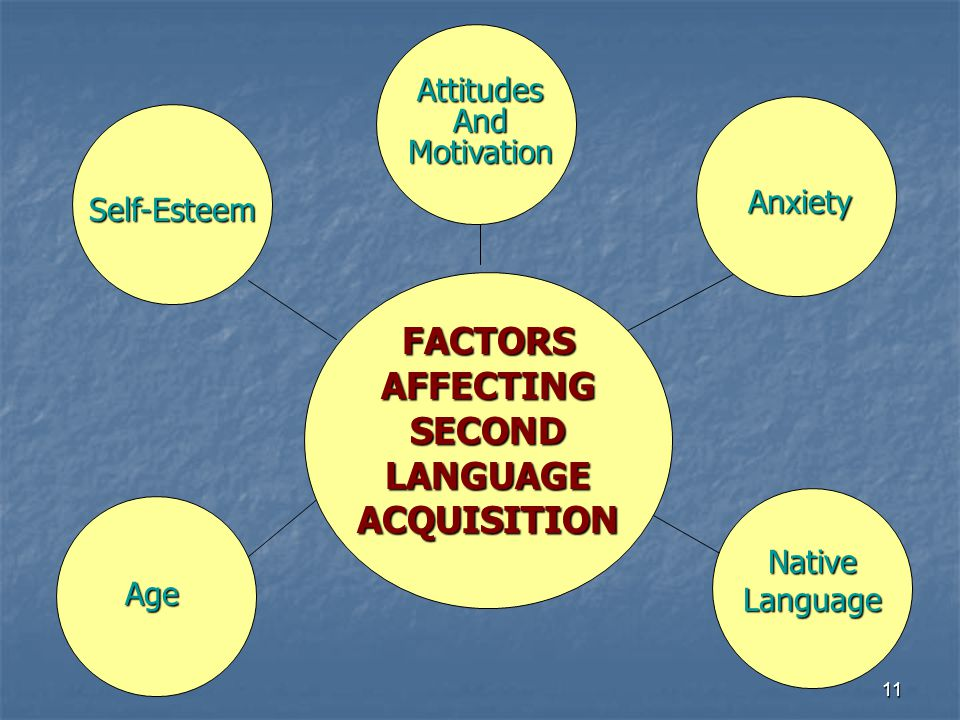11 FACTORS AFFECTING SECOND LANGUAGE ACQUISITION Self-Esteem Anxiety AttitudesAndMotivation Age Native Language