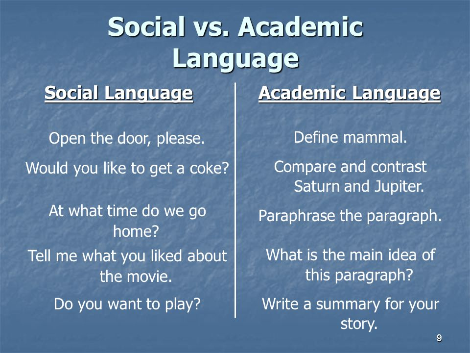 9 Social vs. Academic Language Social Language Academic Language Social Language Academic Language Open the door, please. Would you like to get a coke