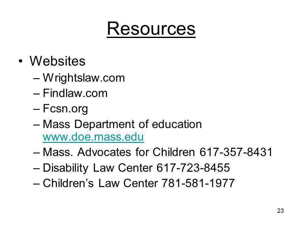 23 Resources Websites –Wrightslaw.com –Findlaw.com –Fcsn.org –Mass Department of education www.doe.mass.edu www.doe.mass.edu –Mass. Advocates for Chil