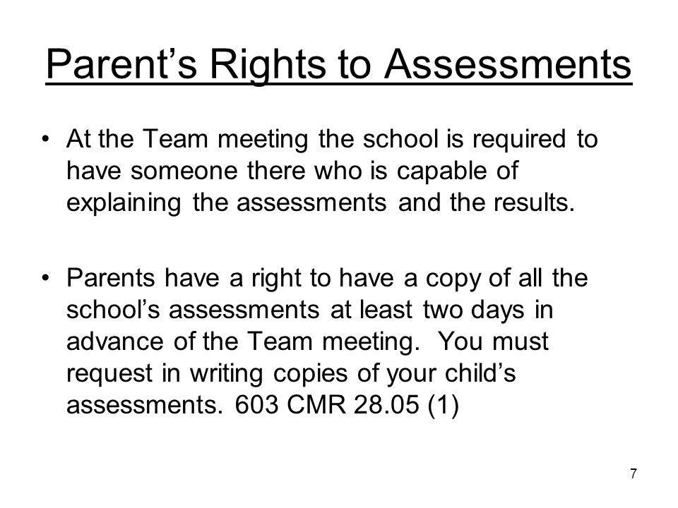 8 Timelines Within 5 school days of referral, and evaluation consent form must be sent to parents Within 30 school days of receipt of consent, all evaluations must be complete Within 45 school working days of receipt of consent, Team meeting to determine eligibility and if appropriate develop IEP and determine placement