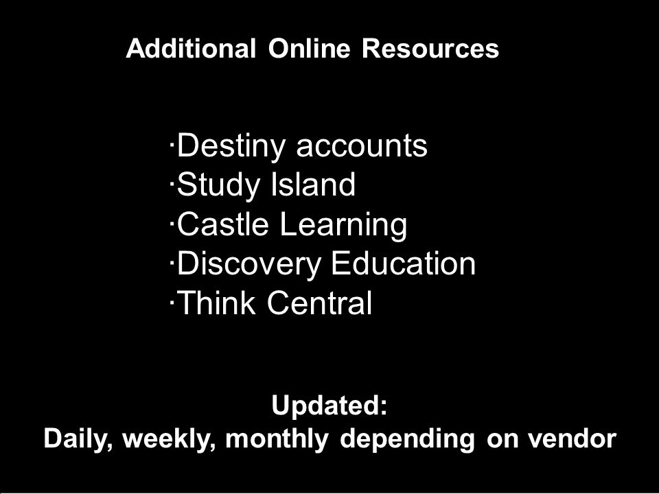 Additional Online Resources ·Destiny accounts ·Study Island ·Castle Learning ·Discovery Education ·Think Central Updated: Daily, weekly, monthly depending on vendor