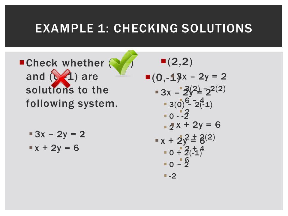  Check whether (2,2) and (0,-1) are solutions to the following system.