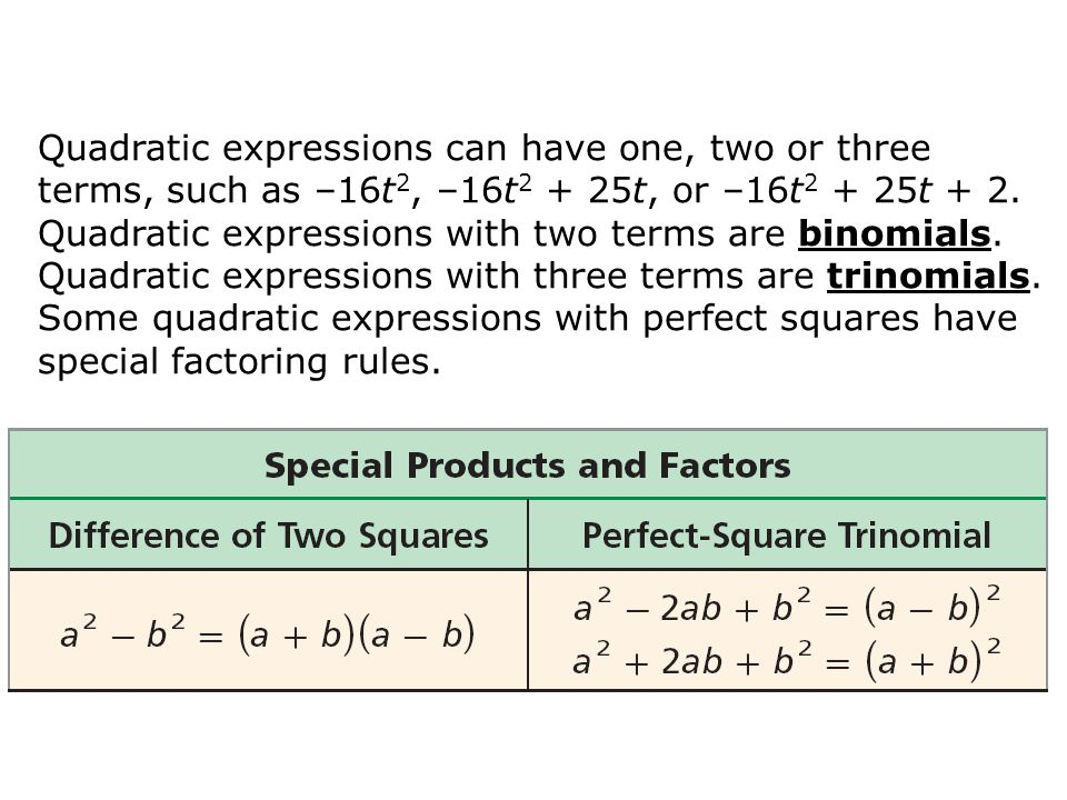 Quadratic expressions can have one, two or three terms, such as –16t 2, –16t 2 + 25t, or –16t 2 + 25t + 2. Quadratic expressions with two terms are bi