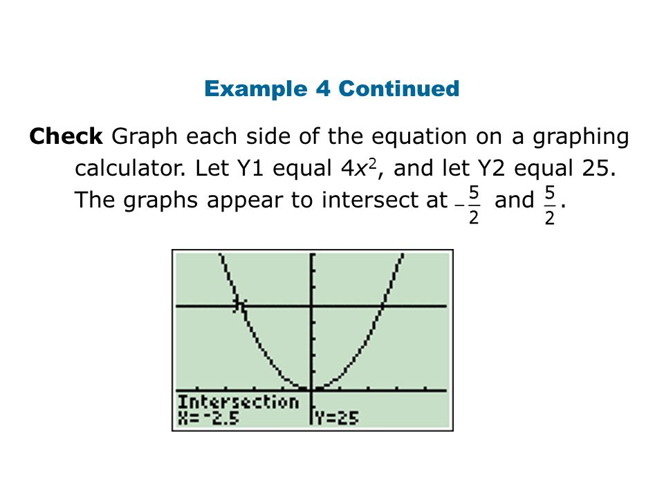 Check Graph each side of the equation on a graphing calculator. Let Y1 equal 4x 2, and let Y2 equal 25. The graphs appear to intersect at and. Example