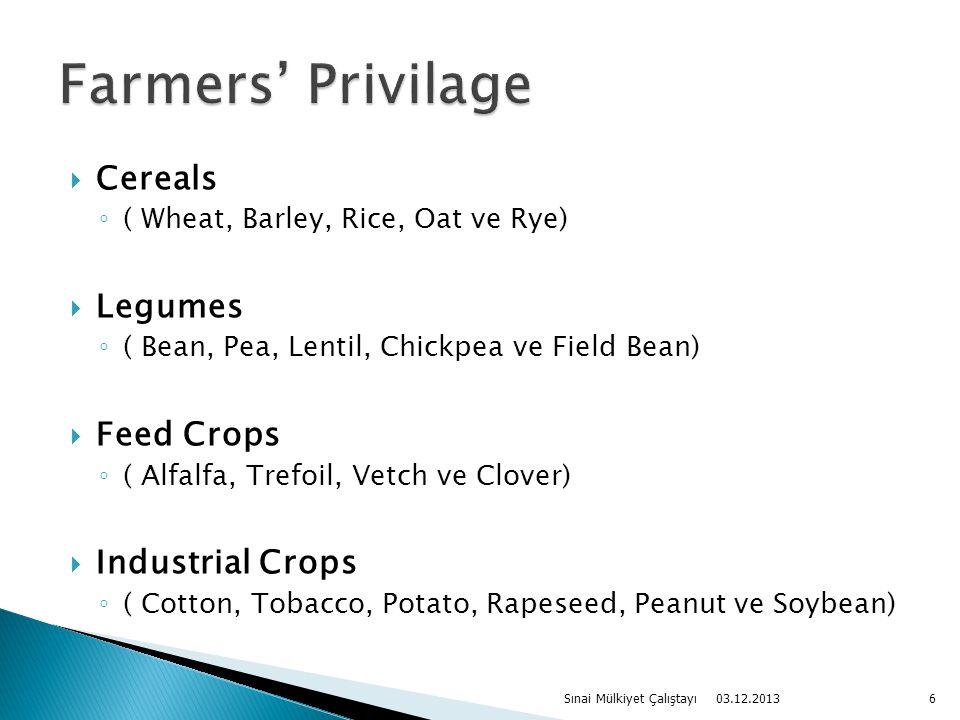  Cereals ◦ ( Wheat, Barley, Rice, Oat ve Rye)  Legumes ◦ ( Bean, Pea, Lentil, Chickpea ve Field Bean)  Feed Crops ◦ ( Alfalfa, Trefoil, Vetch ve Clover)  Industrial Crops ◦ ( Cotton, Tobacco, Potato, Rapeseed, Peanut ve Soybean) 03.12.2013 Sınai Mülkiyet Çalıştayı6