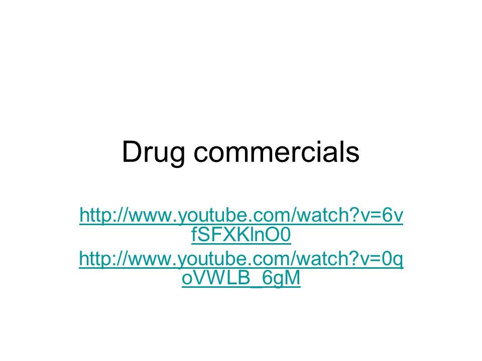 Drug commercials http://www.youtube.com/watch?v=6v fSFXKlnO0 http://www.youtube.com/watch?v=0q oVWLB_6gM