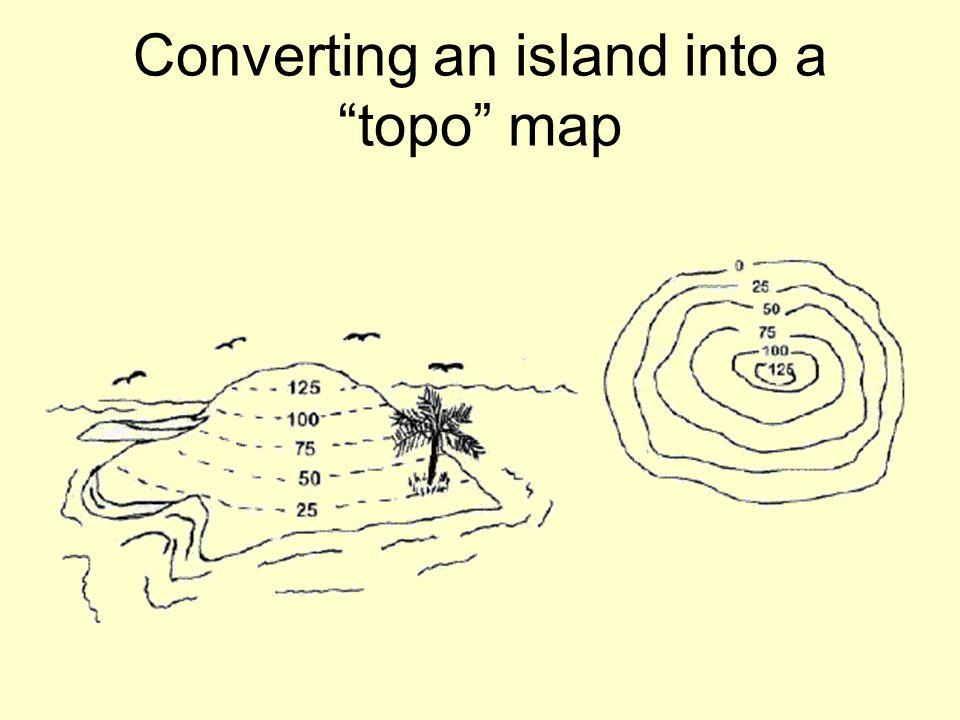 "Converting an island into a ""topo"" map"