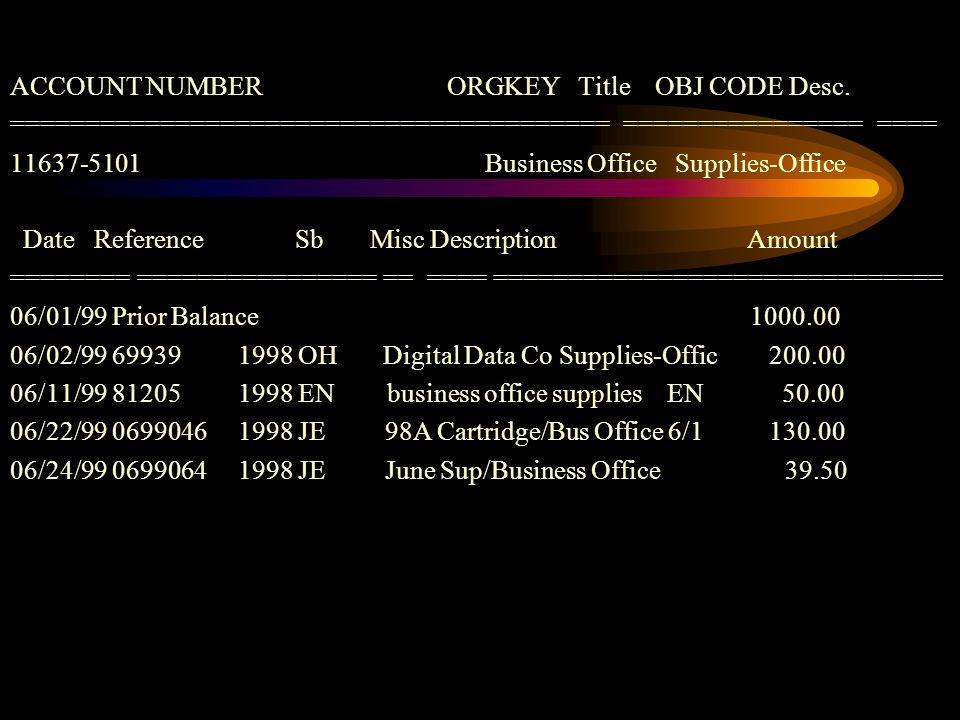 ACCOUNT NUMBER ORGKEY Title OBJ CODE Desc.