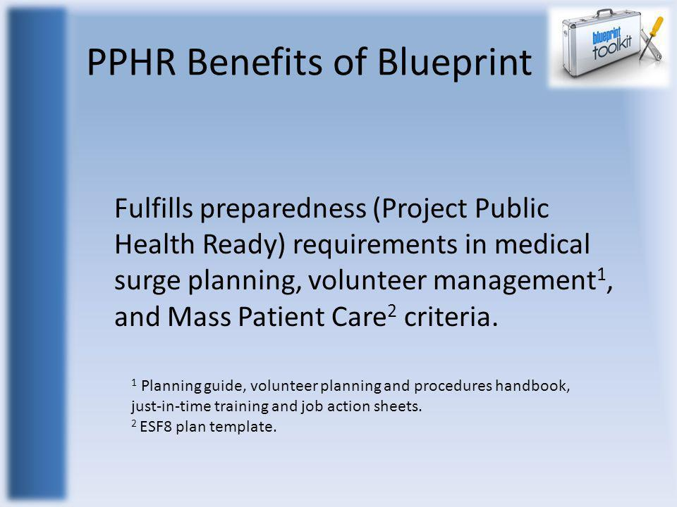 PPHR Benefits of Blueprint Fulfills preparedness (Project Public Health Ready) requirements in medical surge planning, volunteer management 1, and Mas