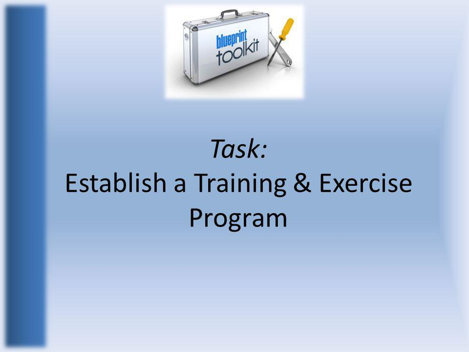 Task: Establish a Training & Exercise Program
