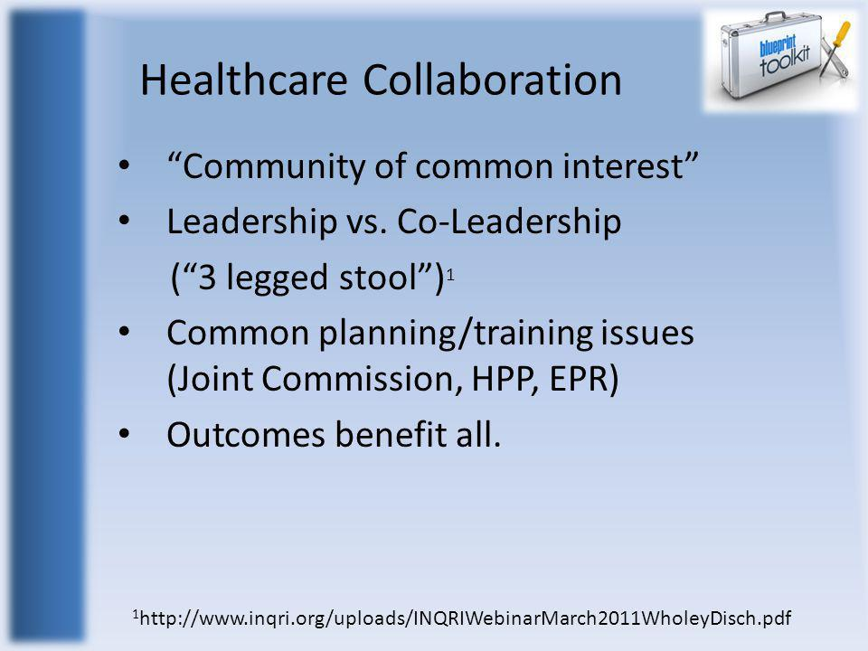 "Healthcare Collaboration ""Community of common interest"" Leadership vs. Co-Leadership (""3 legged stool"") 1 Common planning/training issues (Joint Commi"