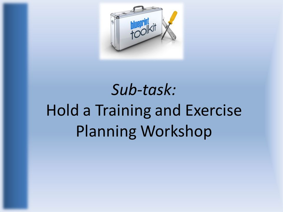 Sub-task: Hold a Training and Exercise Planning Workshop
