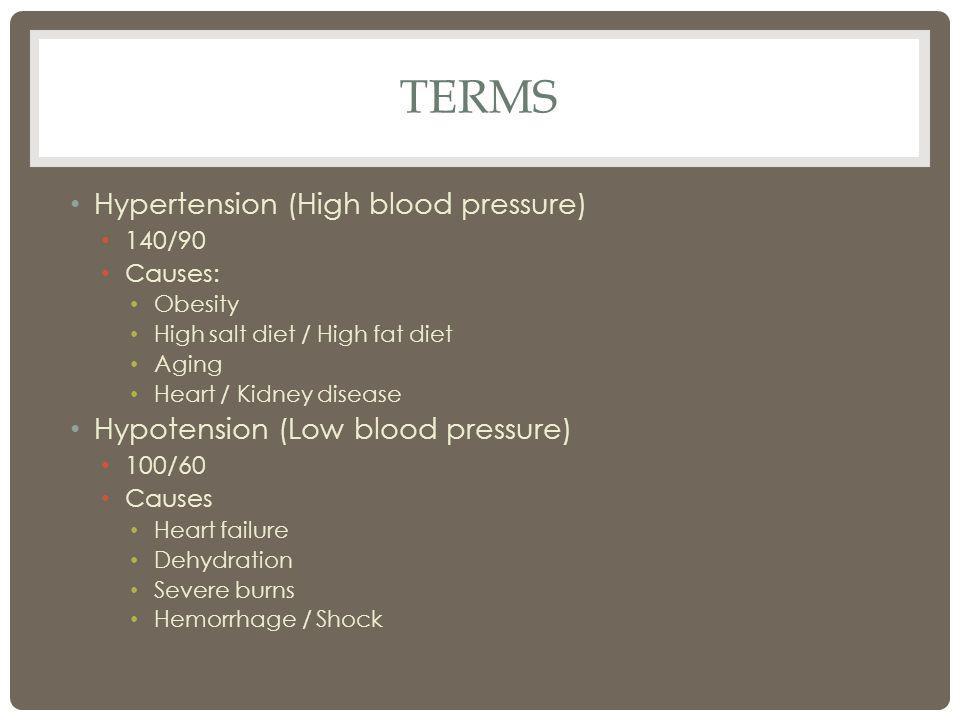 TERMS Hypertension (High blood pressure) 140/90 Causes: Obesity High salt diet / High fat diet Aging Heart / Kidney disease Hypotension (Low blood pressure) 100/60 Causes Heart failure Dehydration Severe burns Hemorrhage / Shock