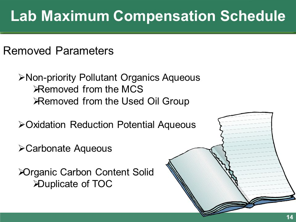 Removed Parameters  Non-priority Pollutant Organics Aqueous  Removed from the MCS  Removed from the Used Oil Group  Oxidation Reduction Potential