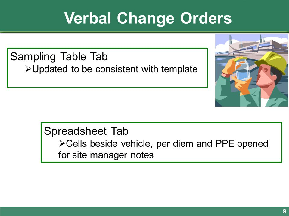 Verbal Change Orders 9 Sampling Table Tab  Updated to be consistent with template Spreadsheet Tab  Cells beside vehicle, per diem and PPE opened for
