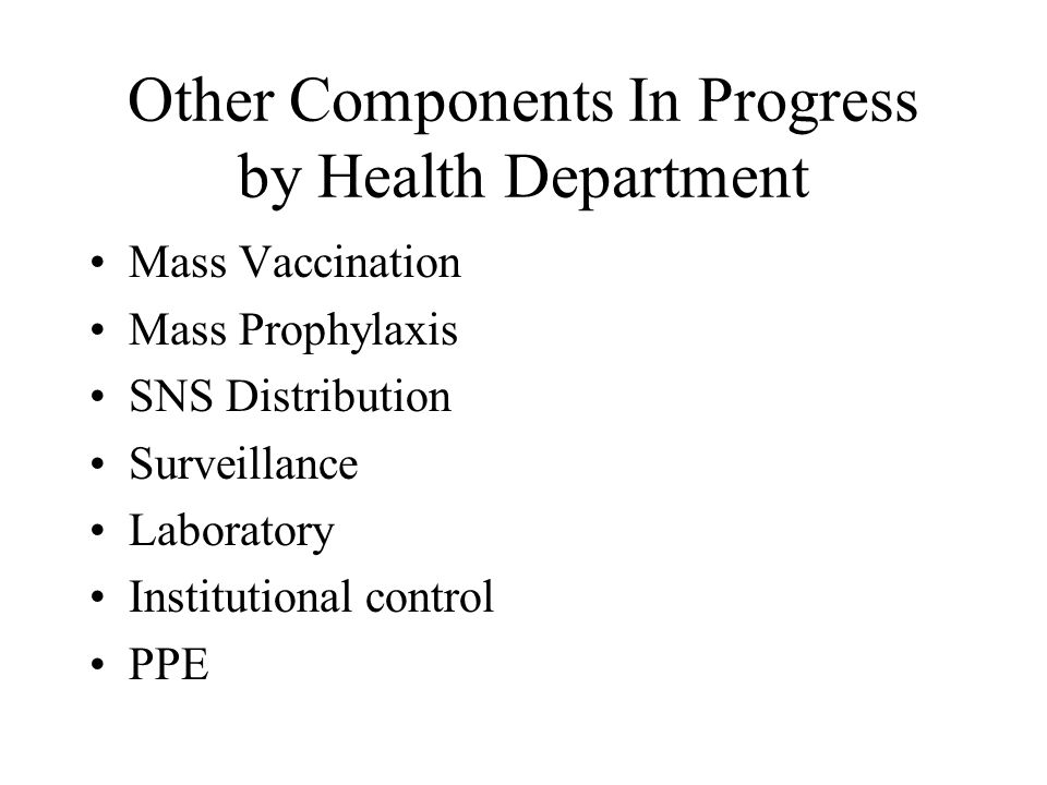 Other Components In Progress by Health Department Mass Vaccination Mass Prophylaxis SNS Distribution Surveillance Laboratory Institutional control PPE