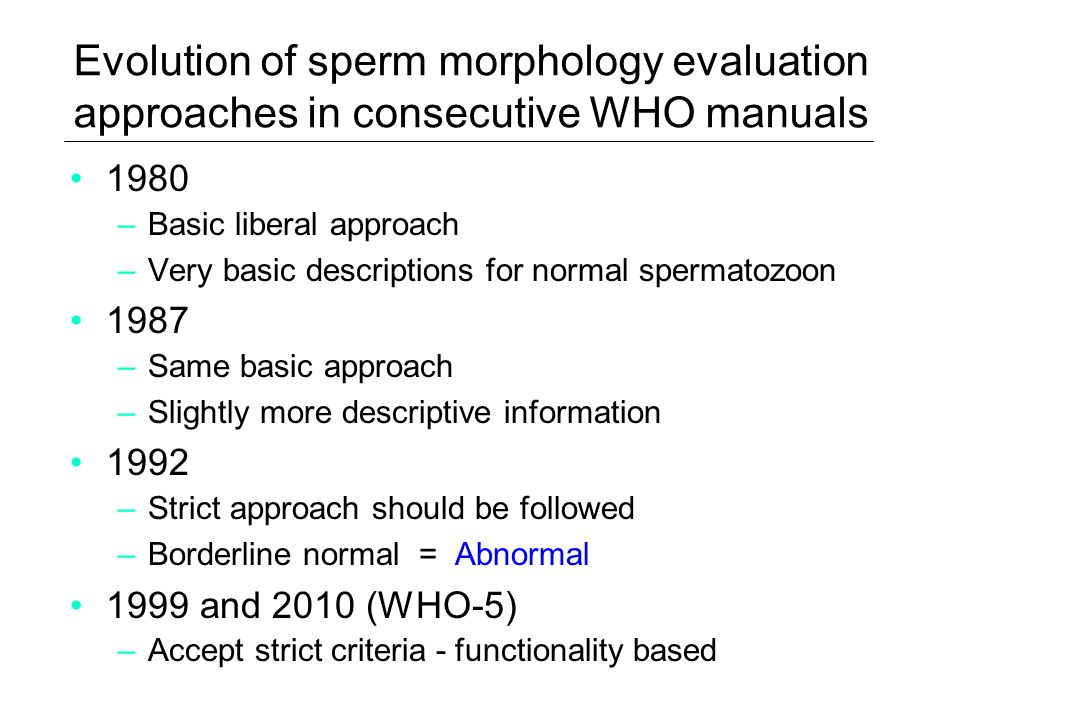 Evolution of sperm morphology evaluation approaches in consecutive WHO manuals 1980 –Basic liberal approach –Very basic descriptions for normal sperma