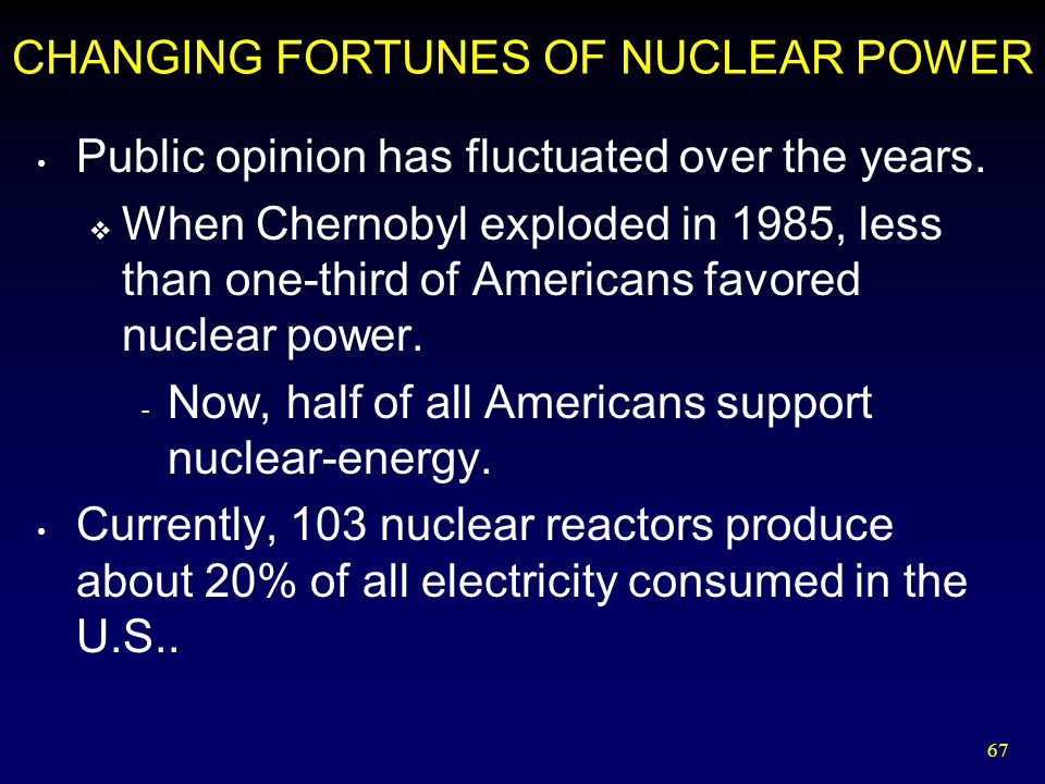 67 CHANGING FORTUNES OF NUCLEAR POWER Public opinion has fluctuated over the years.  When Chernobyl exploded in 1985, less than one-third of American