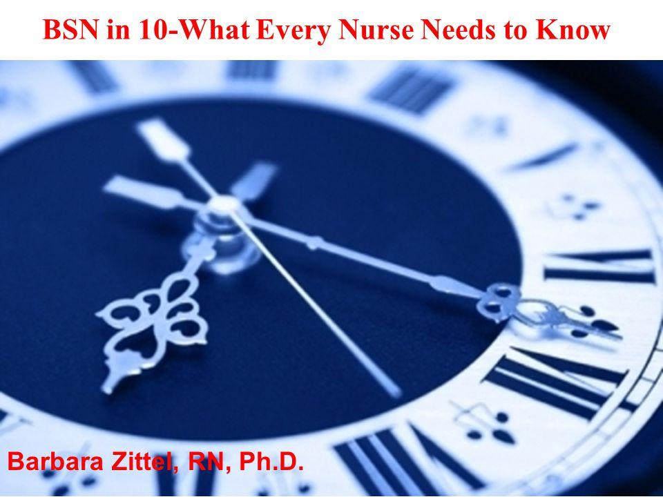Barbara Zittel, RN, Ph.D. BSN in 10-What Every Nurse Needs to Know