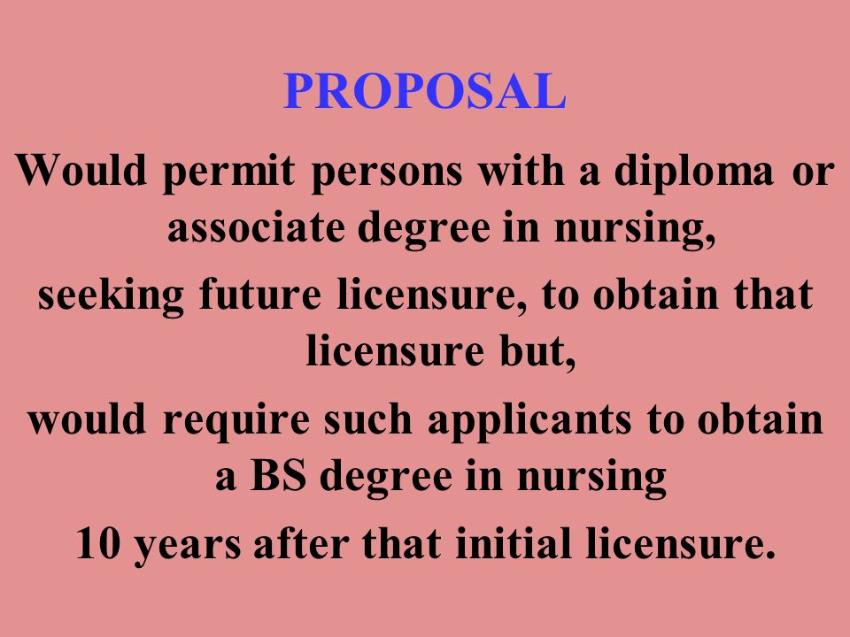 PROPOSAL Would permit persons with a diploma or associate degree in nursing, seeking future licensure, to obtain that licensure but, would require suc